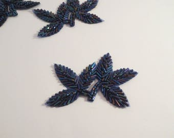 Blue Iris Leaf Design Beaded Applique-One Piece