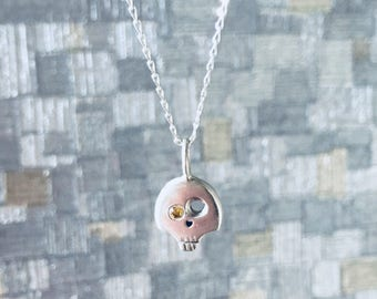 Sterling Silver Skull Pendant with Citrine