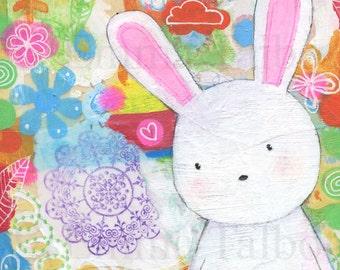 nursery decor- wall art for girls- childrens prints- girls room decor- bunny print