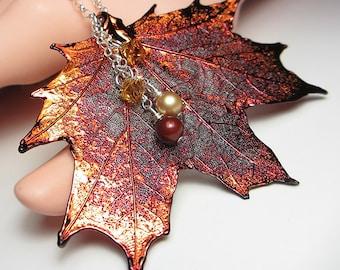 Genuine Maple Leaf Necklace Maple Leaf Pendant Sterling Silver Electroplated Pendant Real Leaf Pendant Necklace Swarovski Necklace Gift