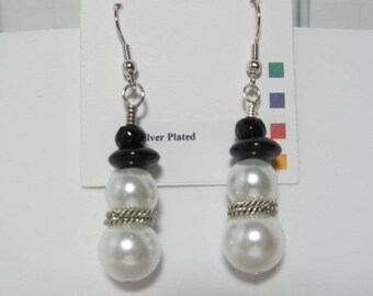Earrings Snowman White Pearls Larger Size Silver Spacer Scarf Dangle