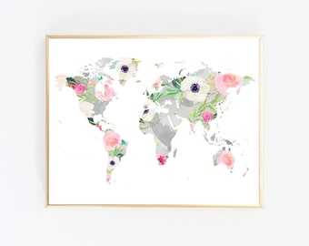 Floral map poster etsy floral world map world map nursery chic wall art map art print poster map world map decor instant download printable art nursery prints gray gumiabroncs Image collections