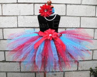 Red and Blue Tutu, Girls Birthday Tutu and Headband Set, Seuss Sweetheart, Custom Sewn Pixie Tutu, Thing 1 & 2 Tutu