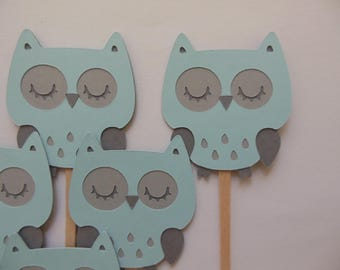 Owl Cupcake Toppers - Blue and Gray - Child Birthday Party Decorations - Boy Baby Shower Decorations - Set of 6