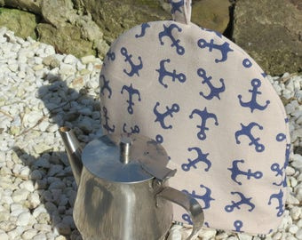 A small tea cosy.  Anchors.  To fit a 1 - 2 cup teapot.  Nautical decor.