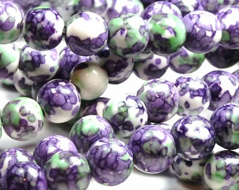 8mm Rain Flower Stone Ocean Jade Round Gemstone Beads - 24pcs - Purple, Violet, Green - BB12