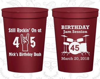 45th Party Favor Cups, Still Rockin at 45, Birthday Jam Session, Party Favor Cups, Fun Birthday Cups (20069)