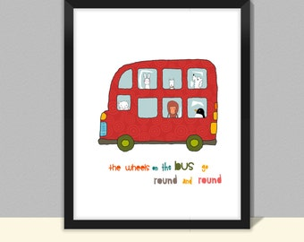 Double Decker Bus Children's art print, size 8x10 11x14inches framed/unframed, nursery prints, kids room decor, transport children art print
