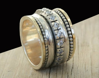 Keturah | Hebrew Inscribed Bible Ring | Silver Kabbalah Spin Ring
