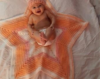 Handmade crochet star baby blanket