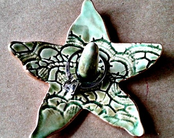 Ceramic Starfish Ring Holder Bowl Moss Green edged in gold