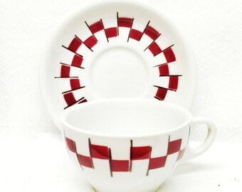 Restaurant Ware Coffee Cup And Saucer Airbrushed Jackson China Red and Black Checker Board Trim Ivory Vitrified China 1965