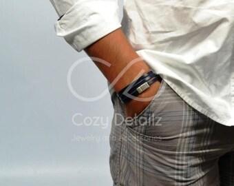 men leather bracelet, men black bracelet, multiwrap bracelet, men brown bracelet, hidden message bracelet, men jewelry, gifts for boyfriend