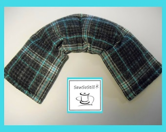 Flax Seed Heating Pad Microwavable, Back Heating Pad, Rice Heating Pad, Relaxation Gifts, Black Turquoise Plaid Flannel, Neck Wrap Heat Pack