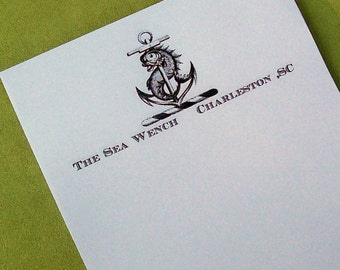 Personalized Anchor Dolphin Fish Notepad Beach Ocean Sea Nautical Monogrammed Black White Cottage Hostess Gift Mythology Fantasy Vintage Art