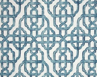 Designer Fabric by The Yard IMPERIAL SEASIDE blues trellis fabric Fabric Yard Drapery Craft upholstery  bedding White