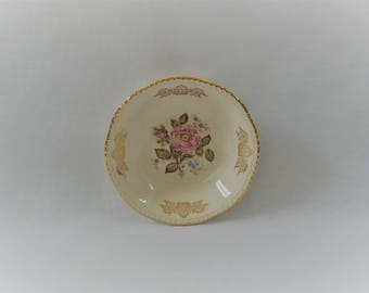 "Antique HOMER LAUGHLIN Liberty Pattern China 5 1/2"" Dessert Bowl, Queen Esther Pattern Warranted 22 Karat Gold Design Replacement Fine China"