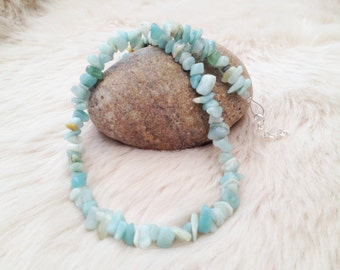 Amazonite chips beaded gemstone necklace with silver plated links. Aqua summer jewellery.