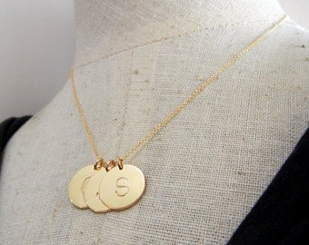 Gold Initial Necklace, Gold Letter Charm Jewelry, DOT Hand Stamped (Engraved) by E. Ria Designs