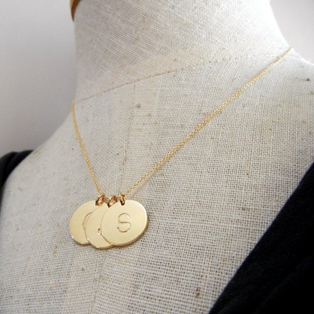 Gold letter necklace three initial charms personalized zoom aloadofball Gallery