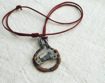 Industrial Chainsaw Circlip Rugged Rustic Postapocaliptic Necklace Pendant