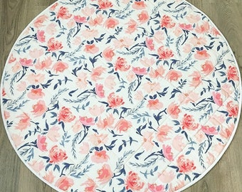 Round, Quilted Baby Play Mat - Watercolour Floral