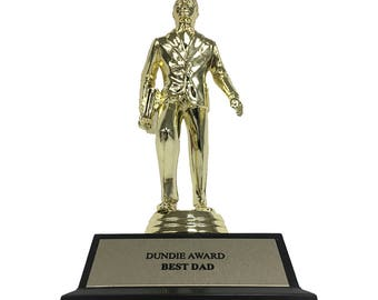 Best Dad Dundie Award Trophy The Office TV Show Michael Scott Jim Halpert Dunder Mifflin Dundies Dundee Dundees Dundy Father's Day Gift Idea