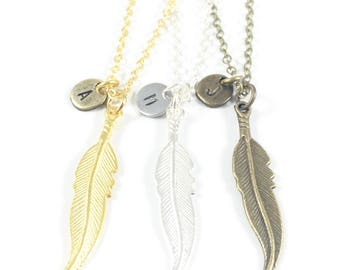 Feather Necklace, Gold Feather Necklace, Silver Feather Necklace for Women Spiritual Jewelry In Memory Of Sympathy Gift Remember A Loved One