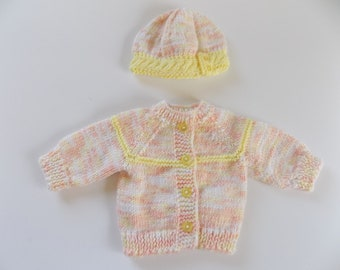 18 Inch Doll Sweater and Hat Set, Doll Clothes, Knit Doll Cardigan, Knit Doll Beanie, Doll Hat, Peach, Yellow