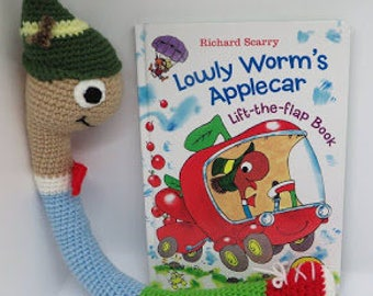 Crochet Lowly the Worm with a choice of Richard Scarry Lowly books; crochet toy