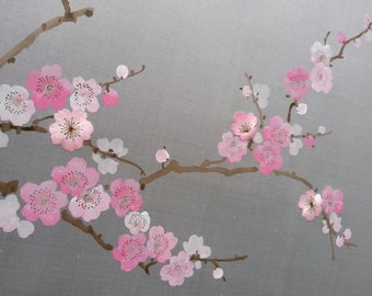 Chinoiserie Handpainted and Hand Embroidered Artwork: SAKURA, 800mm x 800mm per panel, custom size available