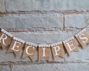 RECIPES Mini Burlap Banner – Rustic wedding banner, wedding sign.