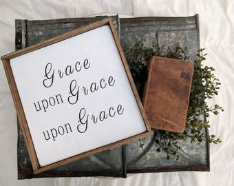 Rustic farmhouse inspired 'Grace upon Grace upon Grace' framed wood sign