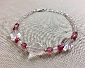 Rose Quartz and Pink Tourmaline Bracelet in Sterling Silver