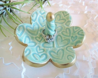 Ceramic flower ring holder with gold rim,  ring dish, Blue Bridal shower gift, Christmas ring dish engagement jewelry tray