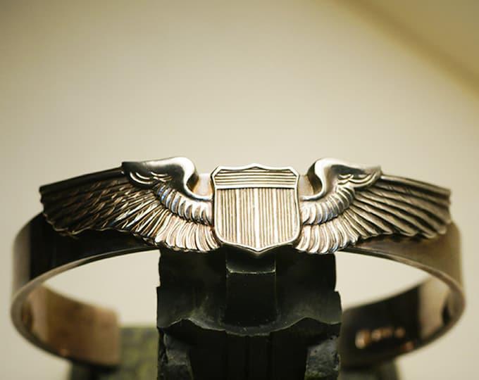 Silver Wings Bangle | Military Bracelet Cuff | Air Force Pilot Wings | USAF Pilot Bangle | Aviator Wings Bracelet | WW2 Air Force Bracelet
