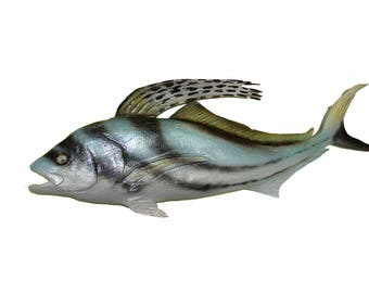 Roosterfish Wall Art Chainsaw Carvings Hand Carved Gamefish Folk Marine Game Fish Fishing Rooster Signed Original Bluewater Deep Sea Sport