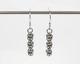 Sweetpea Earrings, Chainmaille Earrings, Stainless Steel, Chainmail Earrings, Maille Earrings, Drop Earrings, Dangle Earrings