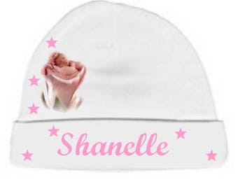 Baby Hat white baby in pink personalized with name