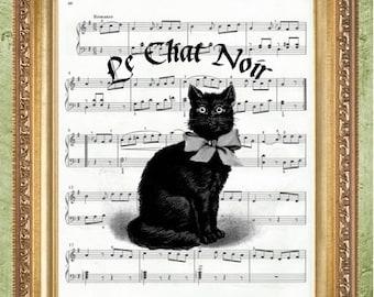Dictionary Art Print Cat Sheet Music Art Print Cat Art Print