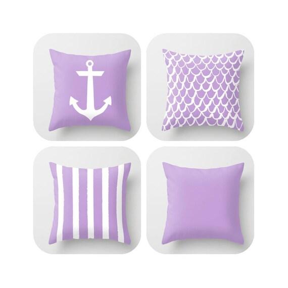 OUTDOOR Throw Pillow . Lavender Mermaid Pillow . Coastal Patio Cushion . Anchor Pillow . Stripe Pillow . 16 18 20 inch . Rectangle Pillow