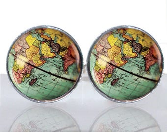 World Globe Round Glass Tile Cuff Links CIR183