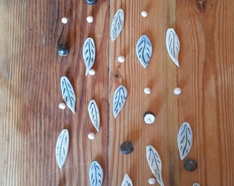 Ceramic Wind Chime (Blue)  - Handmade pottery leaves and beads -hang indoors or outdoors for a lovely soft chime in the breeze FREE SHIPPING