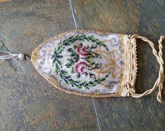 Antique Micro Glass Beaded Reticule Drawstring Handbag Purse