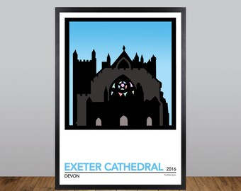 Exeter Cathedral Print, Devon Minimalist Poster Travel Poster