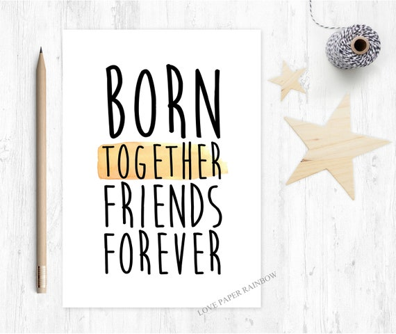 twins card new baby twins card born together friends forever twins quote card twins poem new baby twins card
