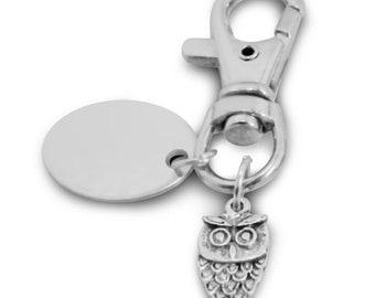 Custom engraved / personalised owl keyring with gift pouch - PL103
