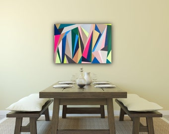 Original Geometric Abstract Painting: Dreaming in Triangles