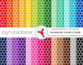 Rainbow Honeycomb Digital Paper Set - honeycomb paper, rainbow, patterned paper pack - personal use, small commercial use, instant download
