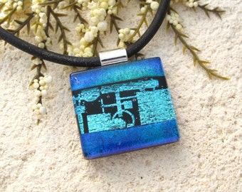 Black Aqua Blue Necklace, Dichroic Glass Necklace, Fused Glass Jewelry, Dichroic Jewelry Contemporary Jewelry, Necklace Included, 090516p100